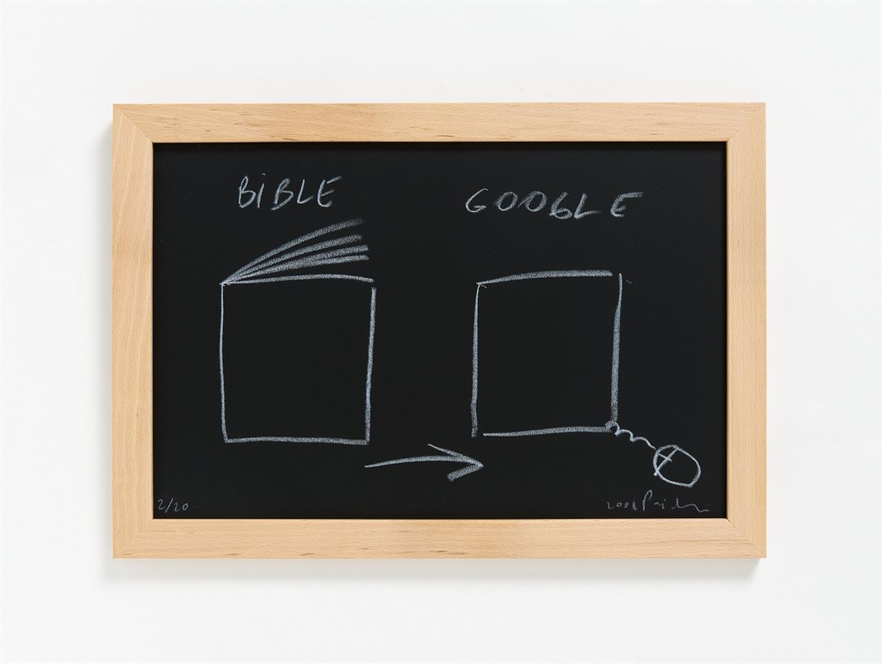 Dan Perjovschi. Bible/Google. 2008. Weiße Kreide auf Tafel, in OrKassette. Signiert. Ex. 2/20.