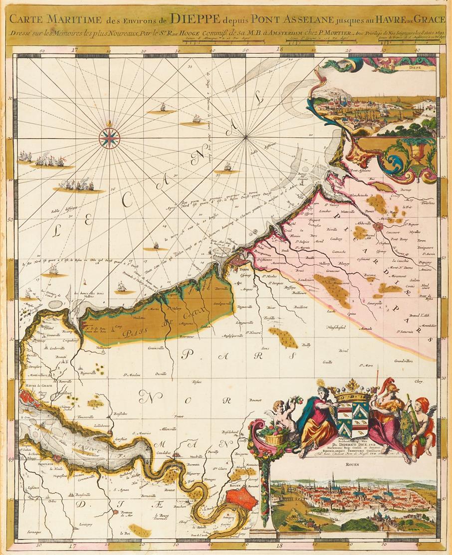 Carte Maritime des Environs de Dieppe. 1693. Kolorierte Kupferstichkarte bei P. Mortier, von R. de Hooghe.