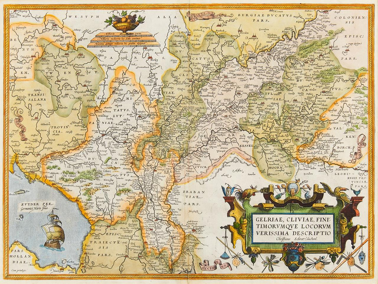 Gelriae, Cliviae Finitimorum Que Locorum Verissima Descriptio. Kolorierte Kupferstichkarte nach C. Schrot, bei Ortelius, um 1580. Dazu: Les Duchés de Cleves, bei Lotter, um 1750.