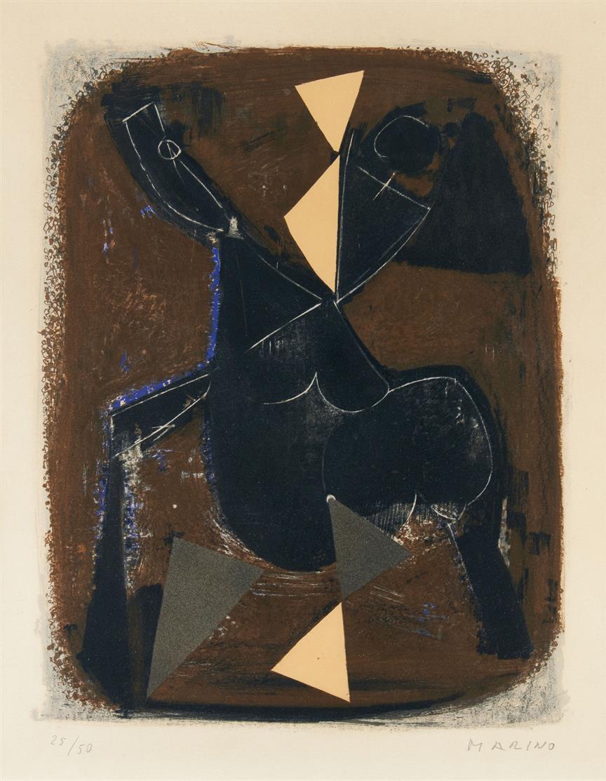 Marino Marini. Le Cavalier Noir (L'Impazzata). 1962. Farblithographie. Signiert. Ex. 25/50. Guastalla 165.