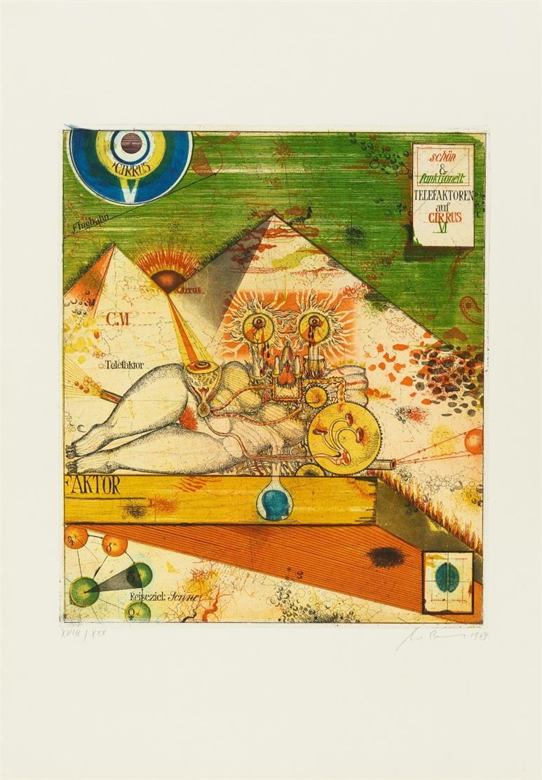Uwe Bremer. Telefaktoren auf Cirrus VI / Paraphrase ... / Casa Venusiae. 1973. 3 Blatt Farbradierungen. Je signiert. Versch. Auflagen. R. 285, 291, 298.