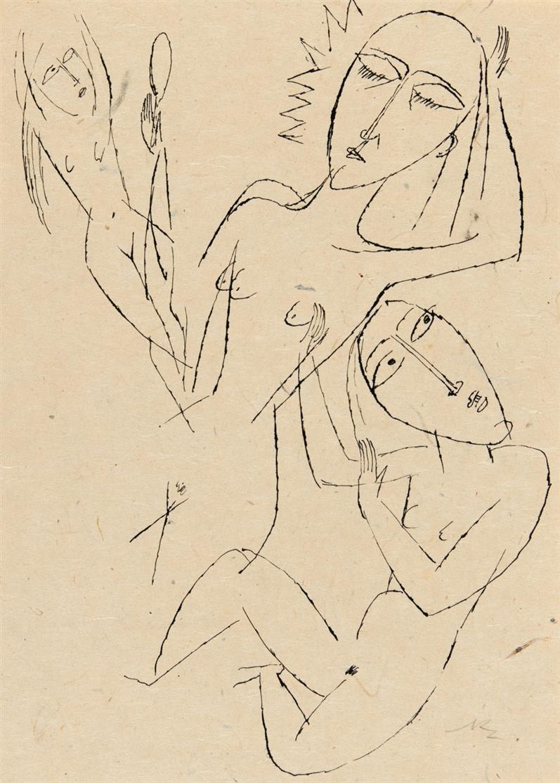 Richard Ziegler. Ohne Titel (Drei weibliche Akte). Tuschfeder. Monogrammiert.