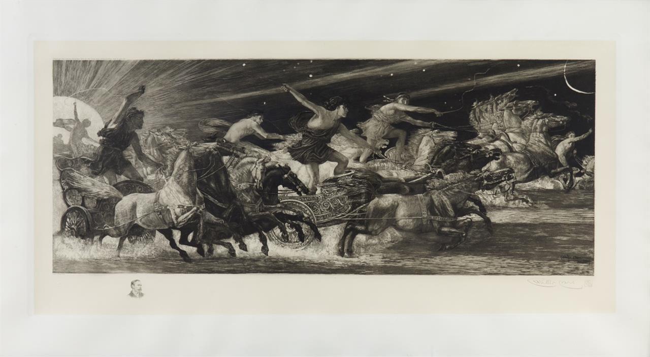 Walter Crane. The Chariots of the Hours (Wettlauf der Stunden). 1887. Radierung von Adolf Gustav Döring nach W. Crane, 1896.