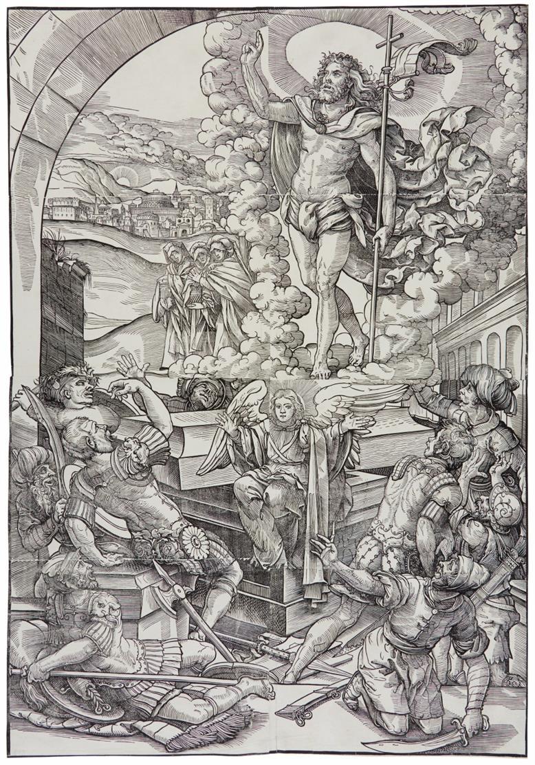 Monogrammist R nach Heinrich Vogtherr d.J. Auferstehung Christi. Holzschnitt von 6 Platten.