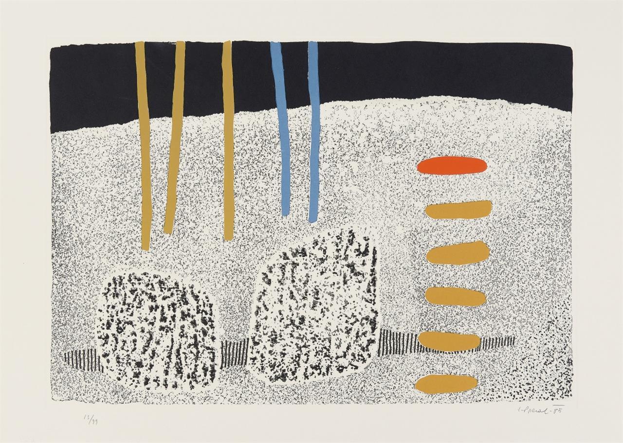 Luigi Spacal. Lo Spazio Poetico. 1985. 3 Blatt Farbradierungen mit Prägedruck. Je signiert. Ex. 13/99. Mit Textbl. + Mappe.