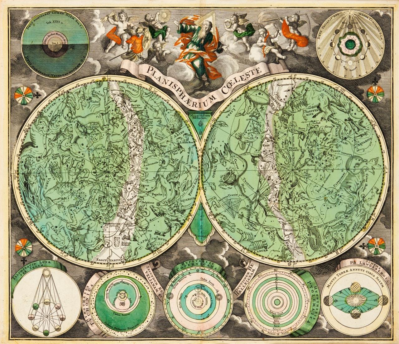 Planisphaerium Coeleste. Kolorierte Kupferstichkarte von G.Chr. Eimmart, bei J.M. Probst, um 1780.