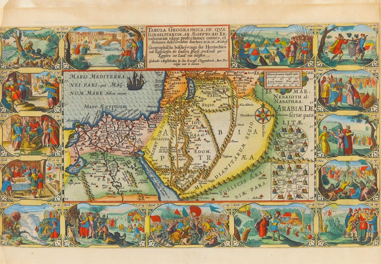 Tabula Geographica ... Israelitarum ... (Heiliges Land). Kolorierte Kupferstichkarte von P. Plancius bei Cloppenburg.