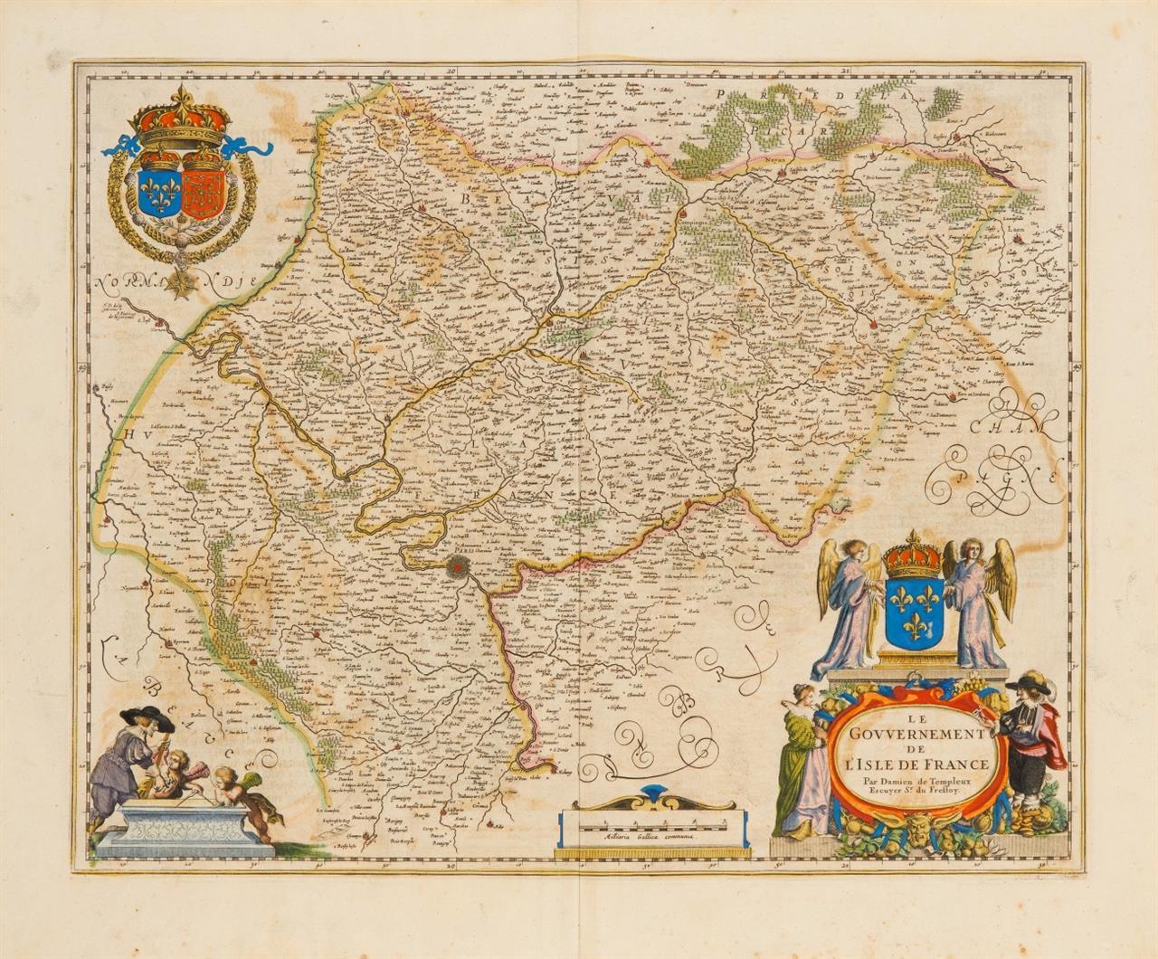 Île de France. Le Gouvernement de L'Isle de France. Kolorierte Kupferstichkarte