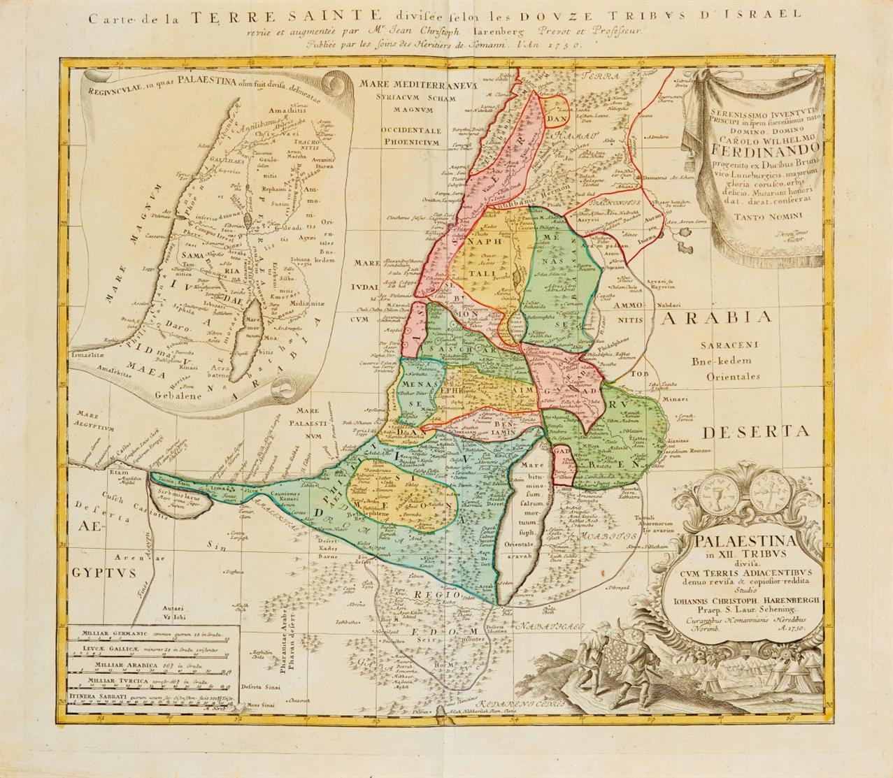Heiliges Land. Carte de la Terre Sainte. Kolorierte Kupferstichkarte bei Homann Erben, 1750.