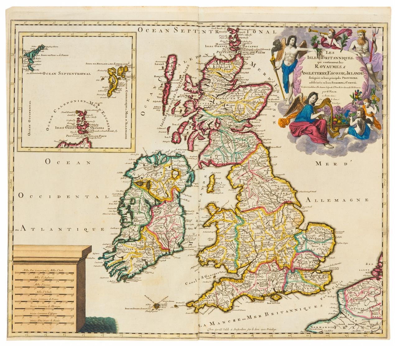 Britische Inseln. 3 kolorierte Kupferstichkarten bei Janssonius, Valck, de Wit. / dazu: Parade im St. James's Park, London. Kolor. Radierung v. Maurer, 1752.