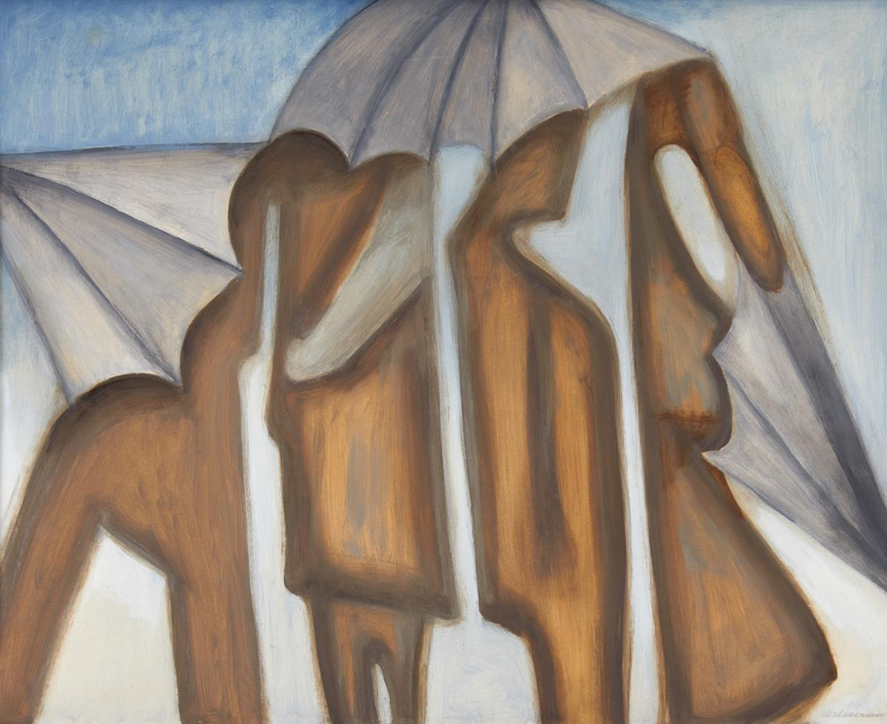 Peter Herkenrath. Ohne Titel (Schirme). Öl auf Papier, auf Leinwand in Keilrahmen. Signiert.