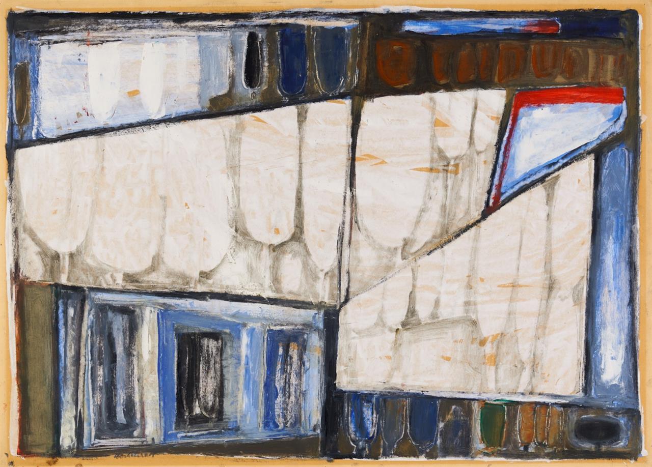 Peter Herkenrath. Ohne Titel (Abstrakte Komposition). Öl auf Papier. Signiert.
