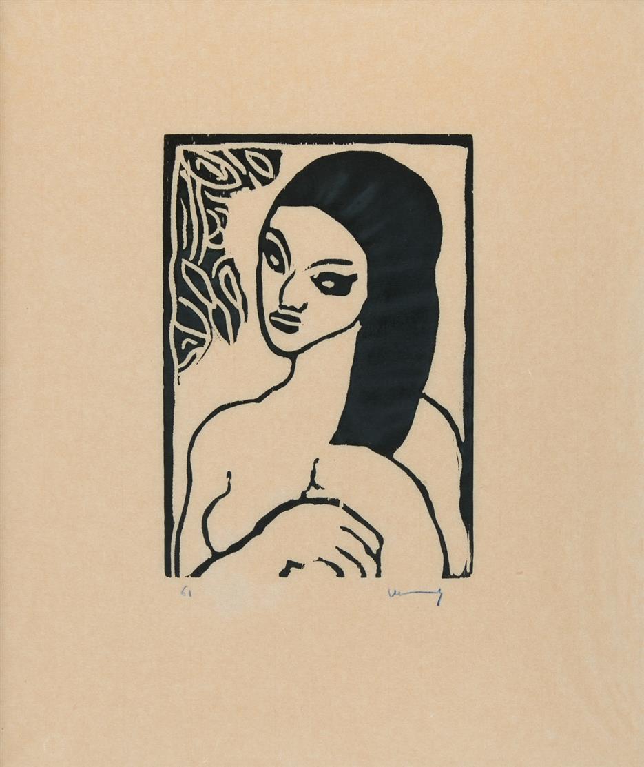 Maurice de Vlaminck. Jeune Fille se coiffant. 1906 (1957). Holzschnitt. Signiert. Ex. 61/100. Walterskirchen 3 b.