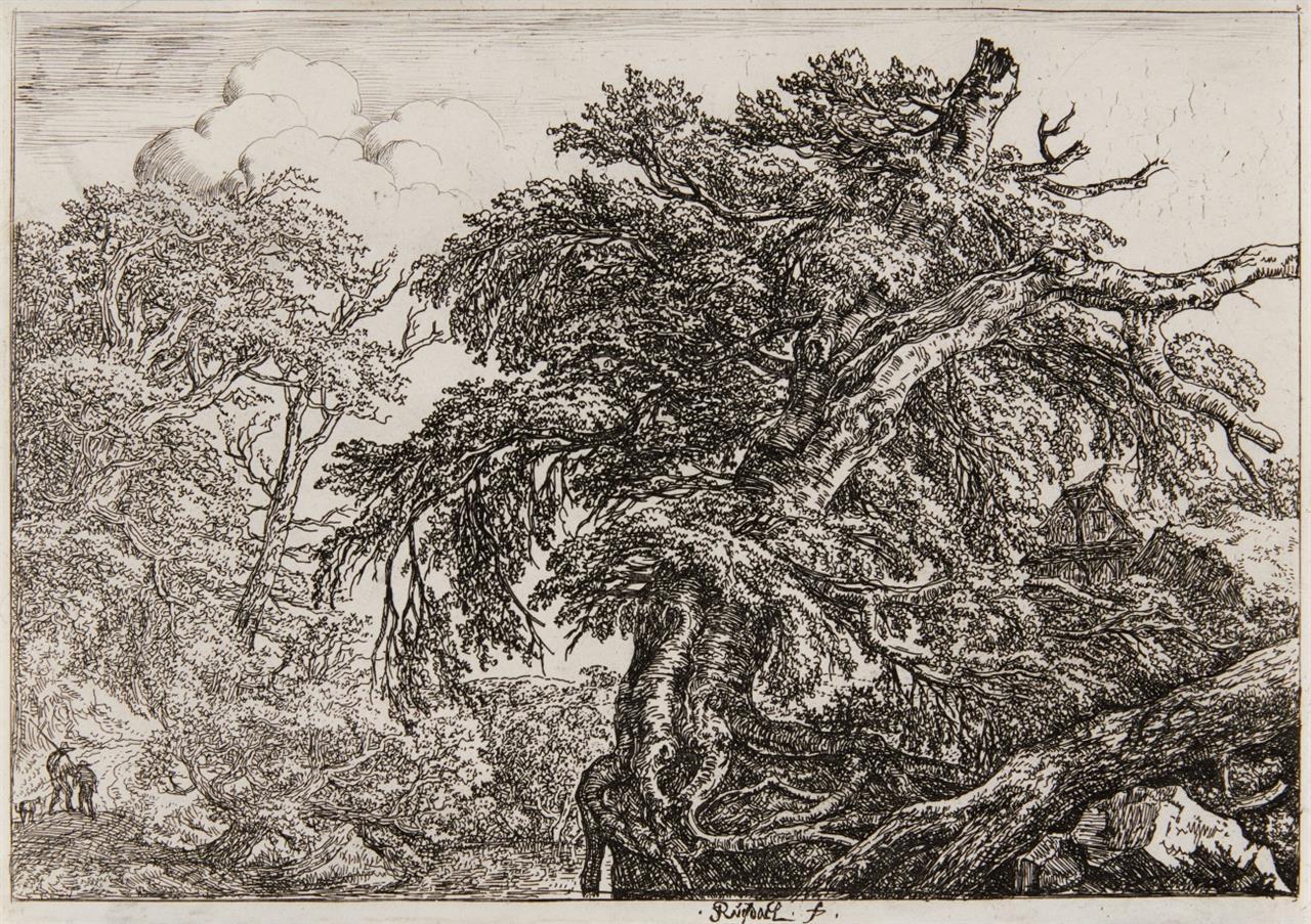 Jacob van Ruisdael. Zwei Bauern mit dem Hunde. Radierung. Hollstein 2 II.