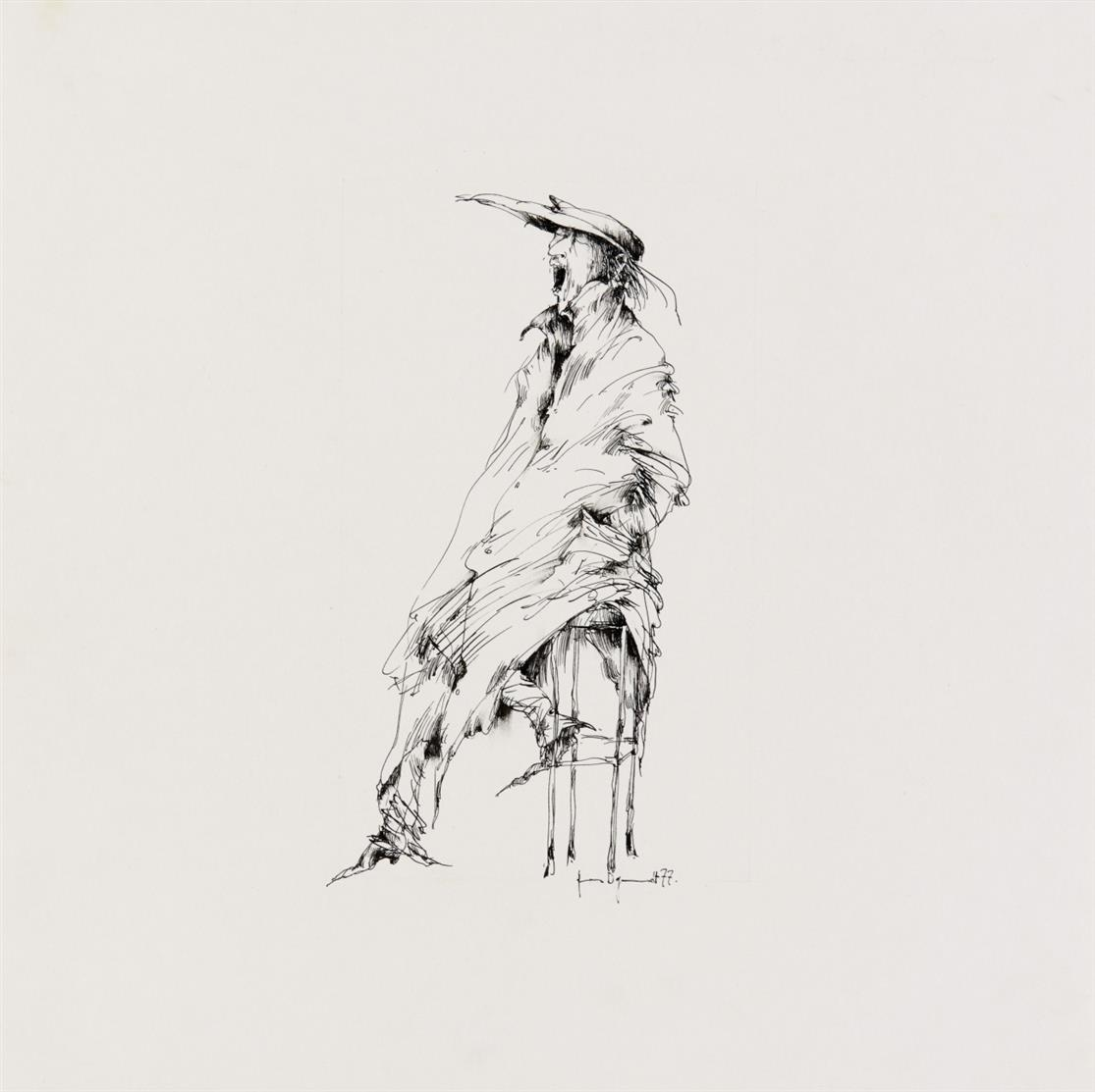 Gertrude Degenhardt. Figurenskizzen. 1977. 3 Blatt Federzeichnungen. Signiert.
