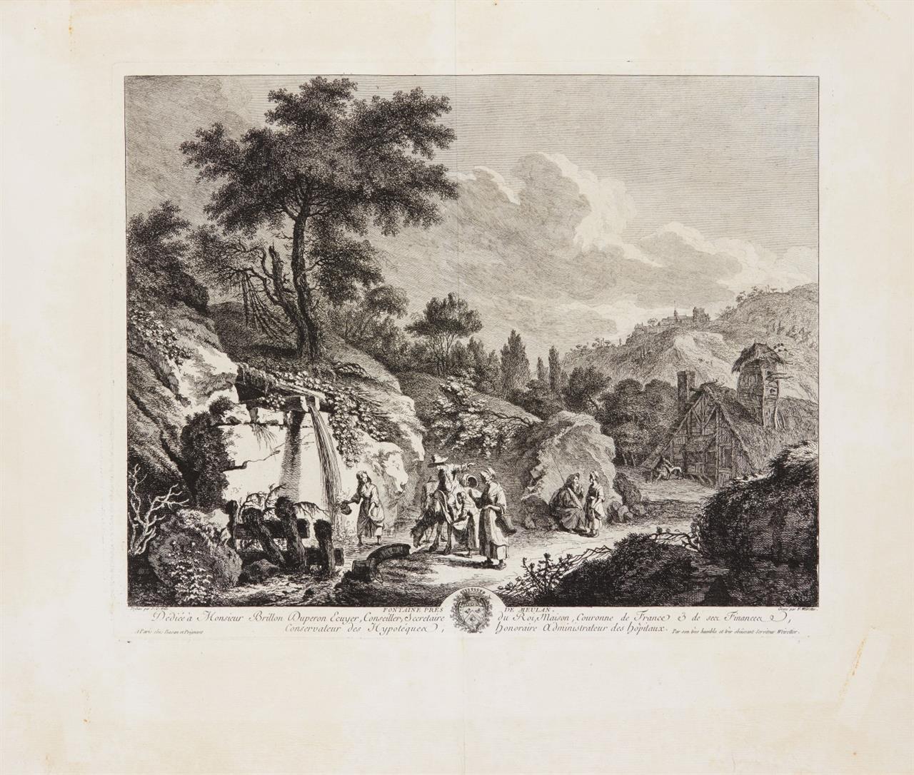 F.E. Weirotter nach J.G. Wille. Ruines de l'Abbaye de Saint Maur / Fontaine pres de Meulan. 2 Blatt Kupferstiche.