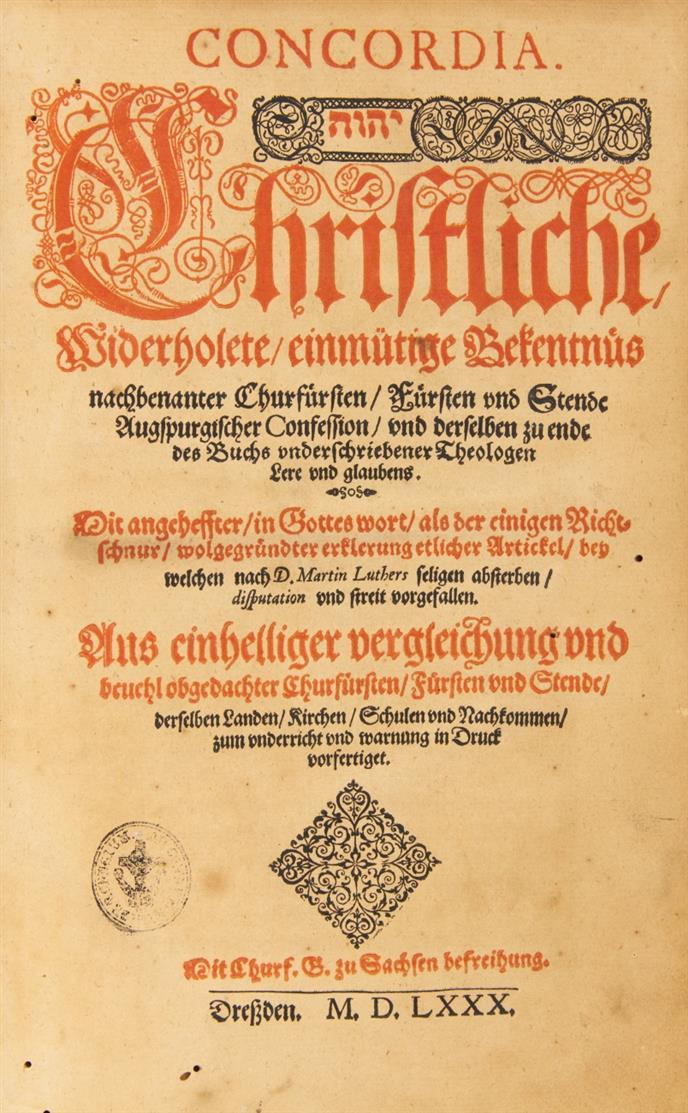 Concordia. Augsburger Confession. Dresden 1580.