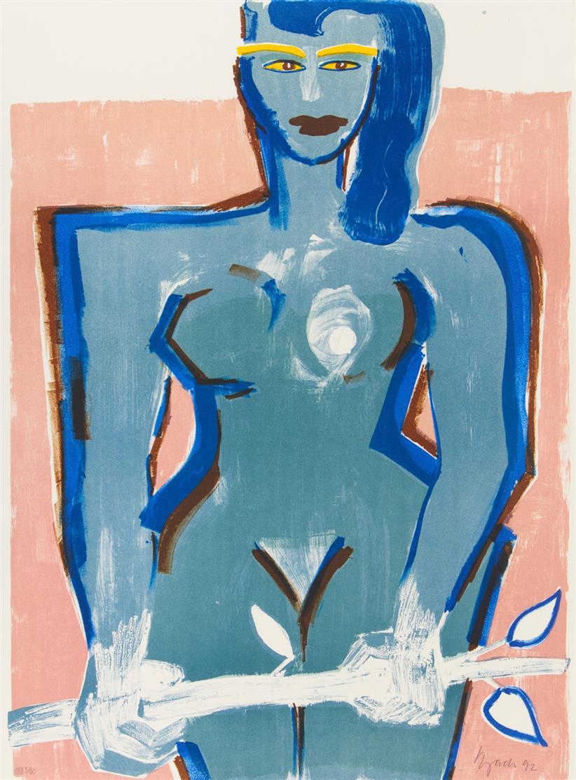 Elvira Bach. Weiblicher Akt mit Zweig. 1992. Farblithographie. Signiert. Ex. 5/60.