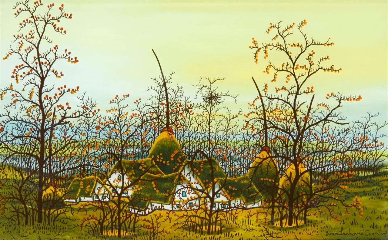 Ivan Lackovic. Dorflandschaft. Hinterglasmalerei. Signiert.