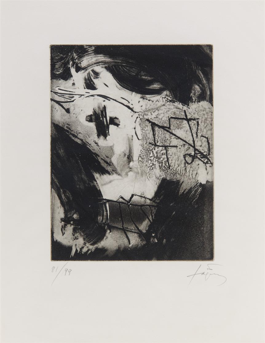 Antoni Tàpies. Les cahiers de l'espace. 1985. Radierung. Signiert. Ex. 81/99. Galfetti/Homs 1034.