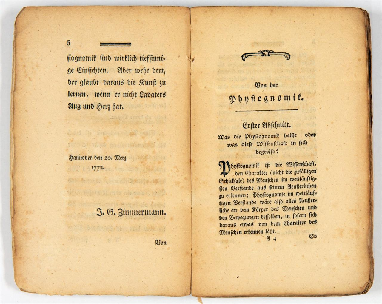 J.C. Lavater, Von der Physiognomik. 2 Tle. in 1 Bd. Lpz. 1772.