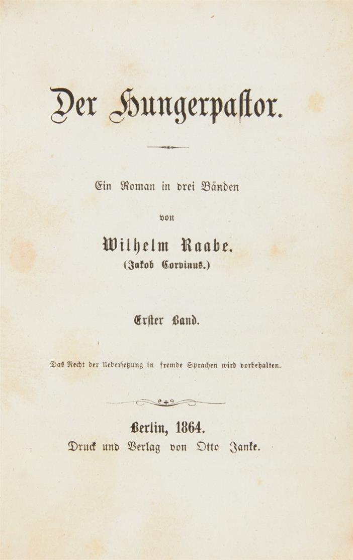 W. Raabe, Der Hungerpastor. 3 Bde. Berlin 1864.