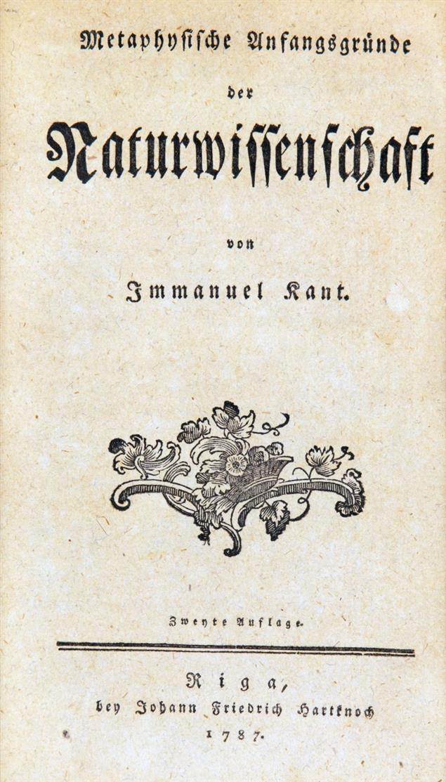 I. Kant, Prolegomena zu einer jeden künftigen Metaphysik. Riga 1783. und 1 Beilage.