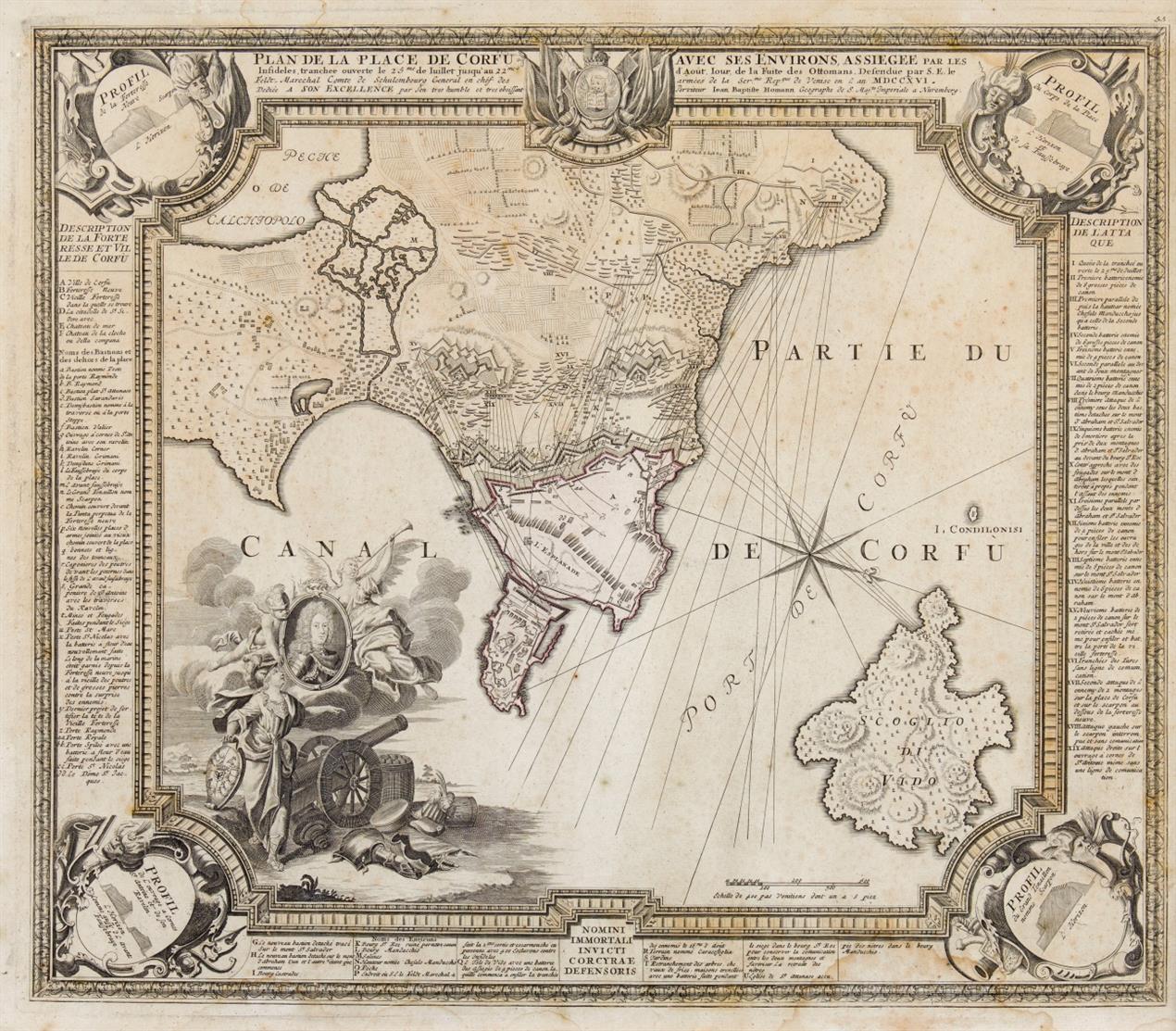 Griechenland. - Korfu. Plan de la place de Corfu. Um 1716. Kupferstichkarte von J.B. Homann.