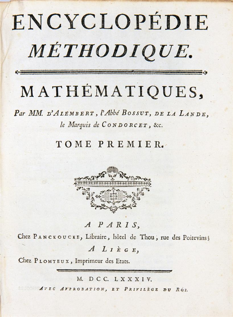 Encyclopédie méthodique. 30 Bände der Reihe. Paris u. Lüttich 1782-92.