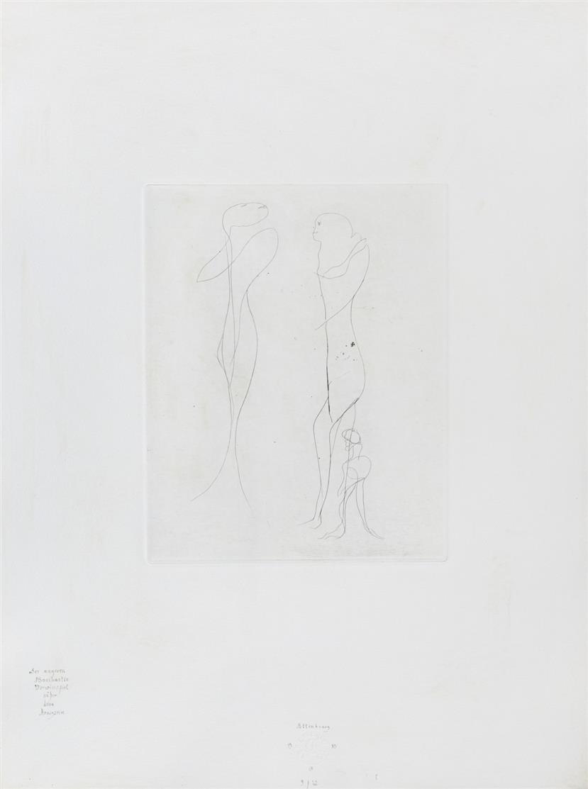 Gerhard Altenbourg. Der mageren Bacchantin Verwirrspiel. 1985. Radierung. Signiert. Ex. 9/12.