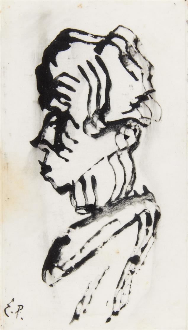 Ewald Platte. Kopf im Profil. Tusche. Monogrammiert. Rückwand mit Nachlassstempel und nummeriert 1180 E.