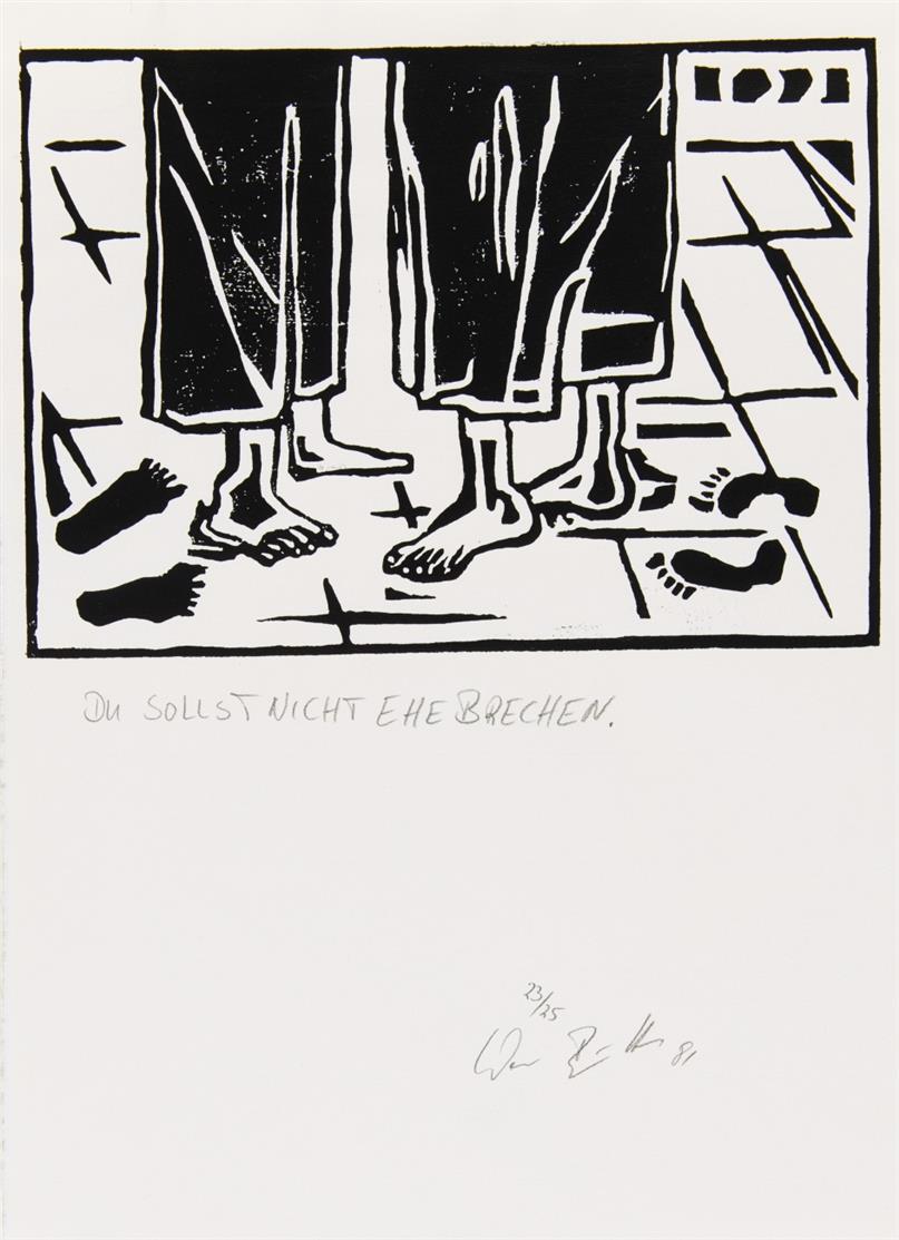 Werner Büttner. Ohne Titel (Zehn Gebote). 1981. 10 Blatt Linolschnitte. Jeweils signiert. Ex. 23/25.