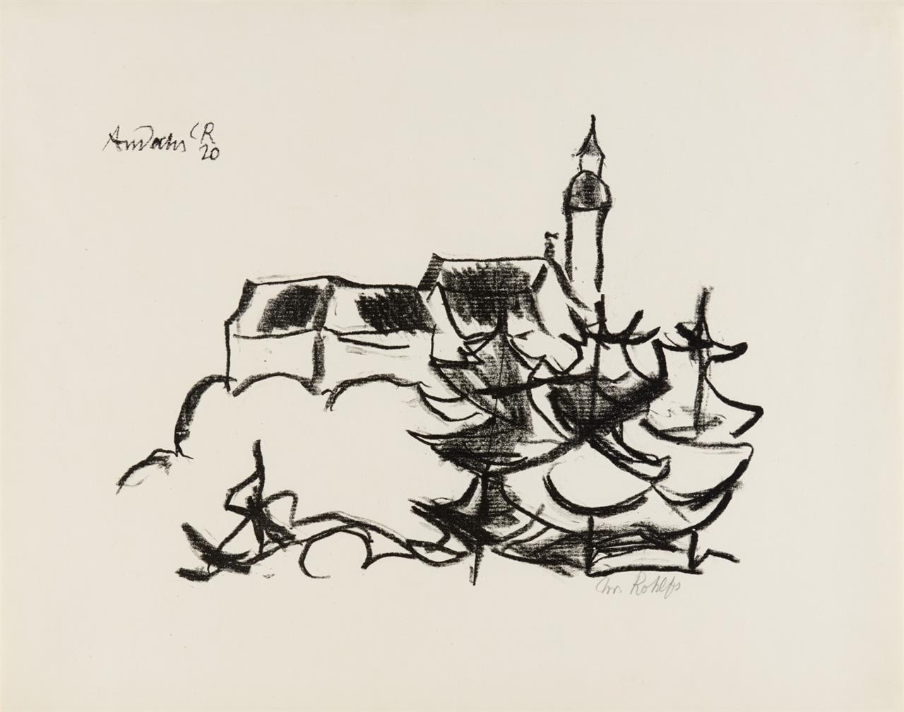 Christian Rohlfs. Kloster Andechs. 1920. Lithographie. Signiert. Utermann 168.