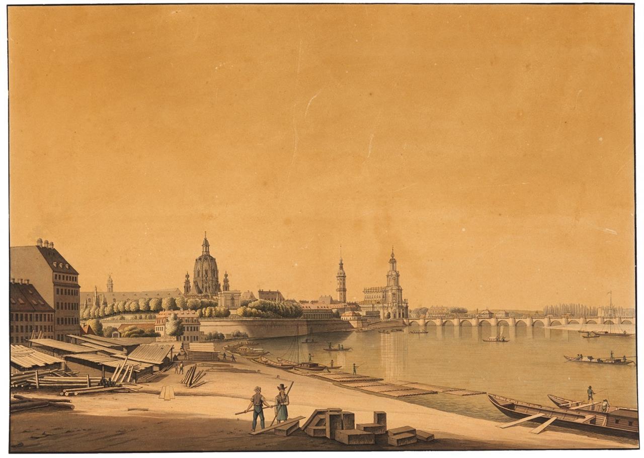 Dresden.–  Gesamtansicht, um 1840. / Dresden. Gesamtansicht von Bowyer, 1815. 2 Blatt kolor. Radierungen.