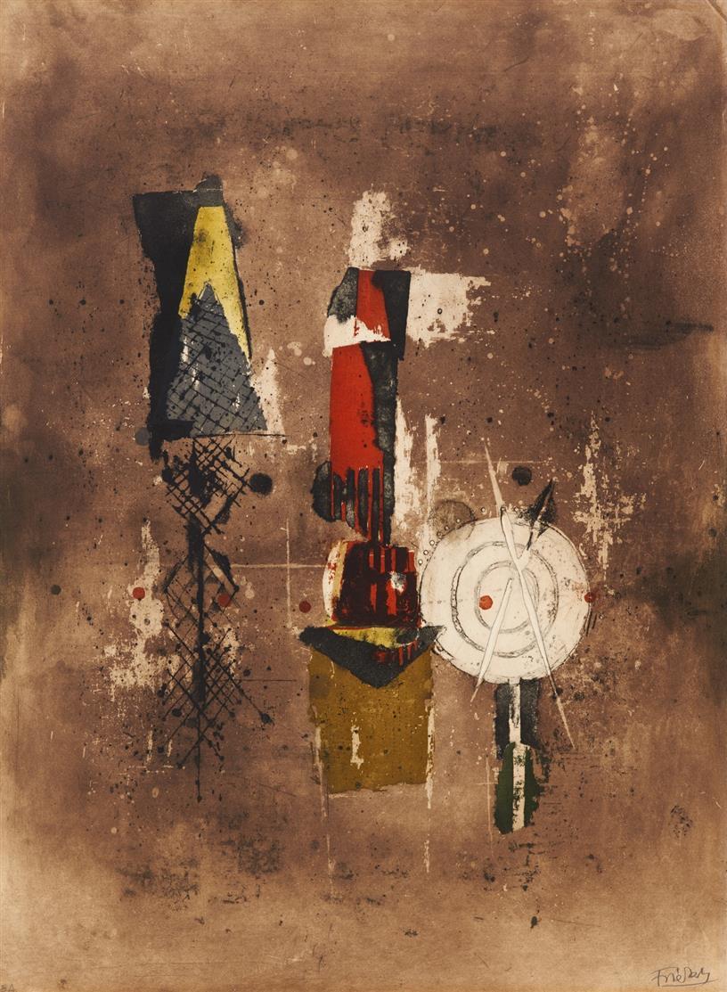 Johnny Friedlaender. Signe de Temps. 1973. Farbaquatintaradierung mit Prägung. Signiert. Ex. e.a. Schmücking 499.