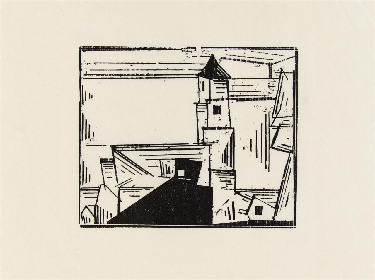 Lyonel Feininger. Gelbe Dorfkirche 3. 1931 (1978). Holzschnitt. Griffelkunst.
