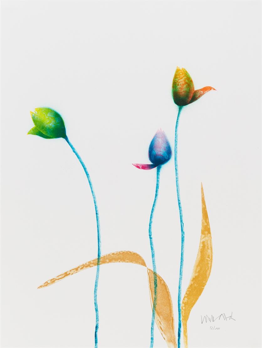 Paul Wunderlich. Tulpen. 1999. Farblithographie. Signiert. Ex. 52/100. Riediger 867.