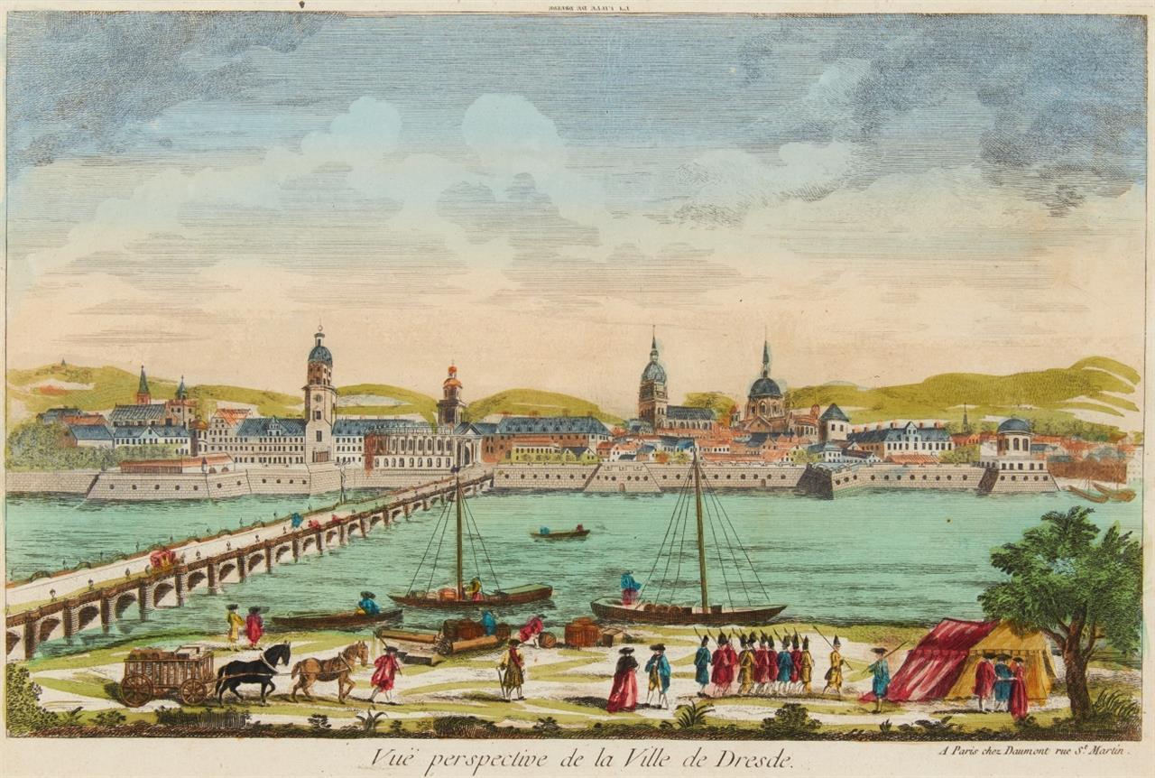 Dresden. Ansichten. 4 kolorierte Radierungen d. 18 Jh. von Riedel etc. Guckkastenbilder.