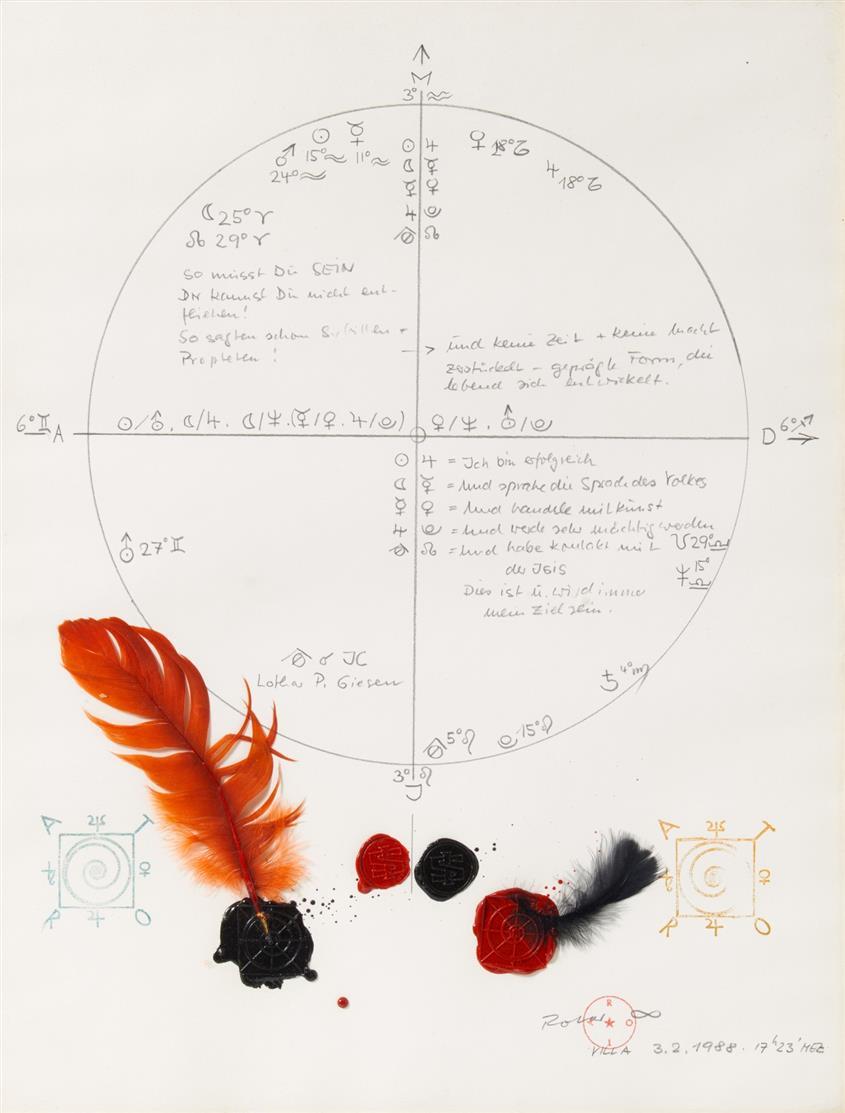 Robert Rotar. Ohne Titel. 1988. Bleistift, Feder, Siegellack, Stempel. Verso signiert.
