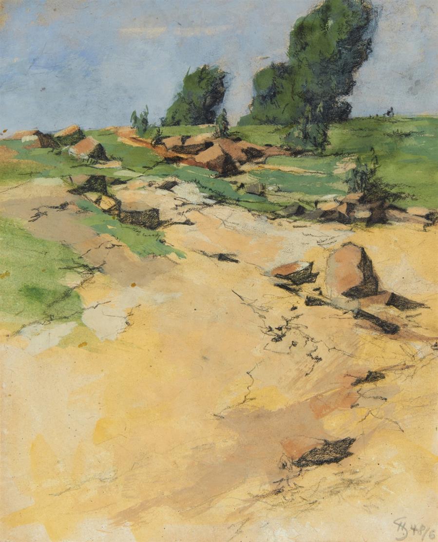 Hans Salentin. Landschaft. 1948. Aquarell, Gouache, schwarze Kreide. Monogrammiert.