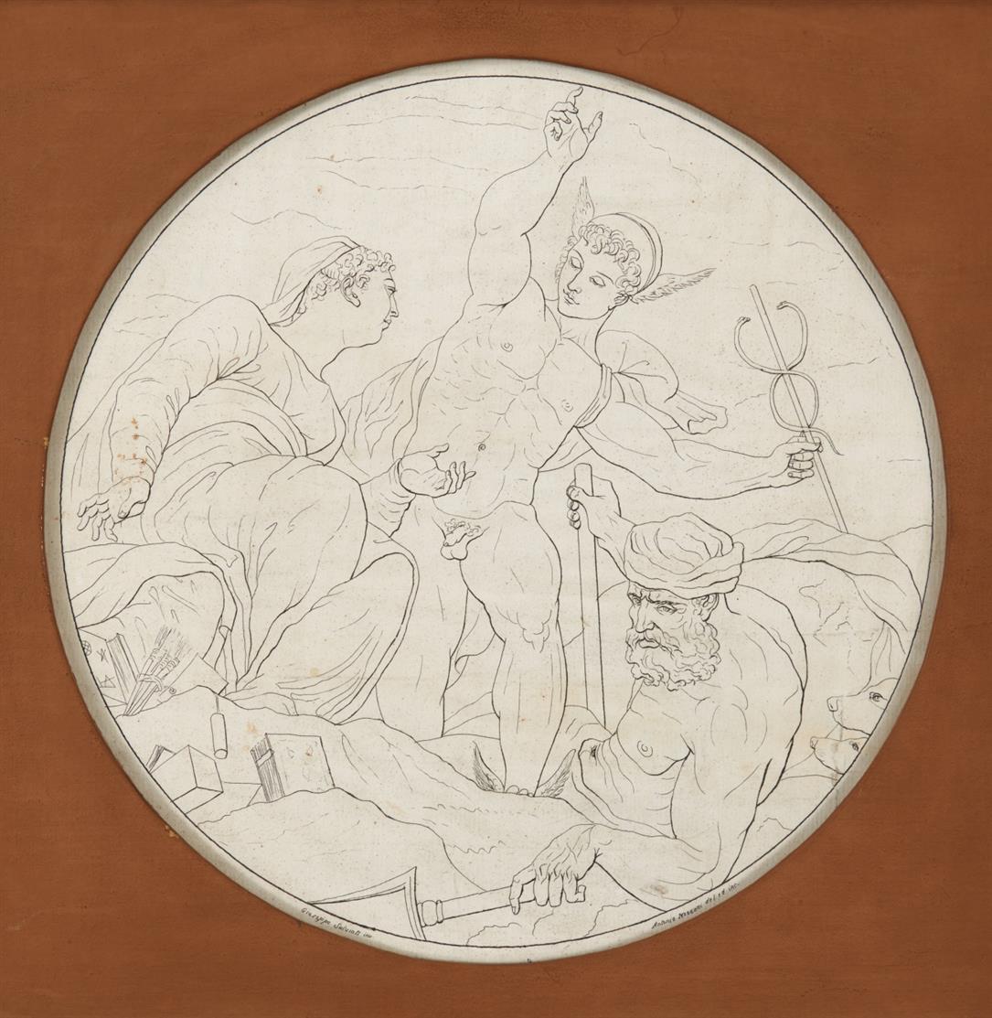 Giuseppe Porta, gen. Salviati, nach. Merkur mit der Kunst und Neptun.1556. Kupferstich von Antonio Mezzani.
