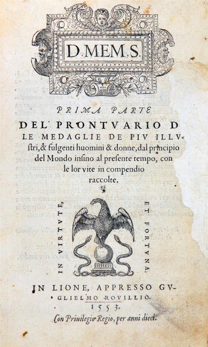 Rouillé, G.: Prontuario delle Medaglie. 2 Teile in 1 Band. 1553.