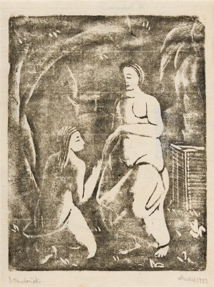 Georg Merkel. Zwei Frauenakte (Arkadische Szene). 1923. Holzschnitt, Handdruck. Signiert.