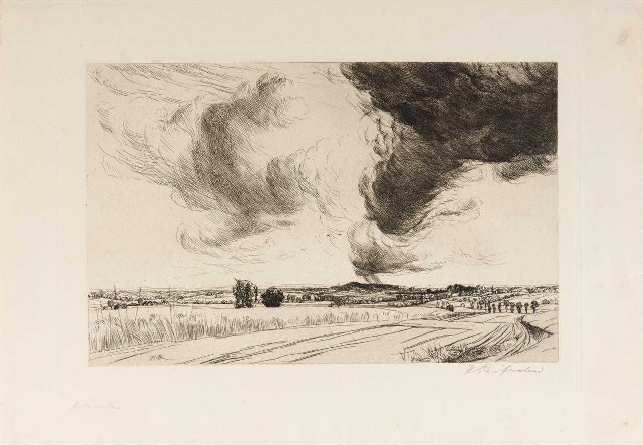 Heinrich Reifferscheid. Wetterwolken. Kaltnadelradierung. Signiert.