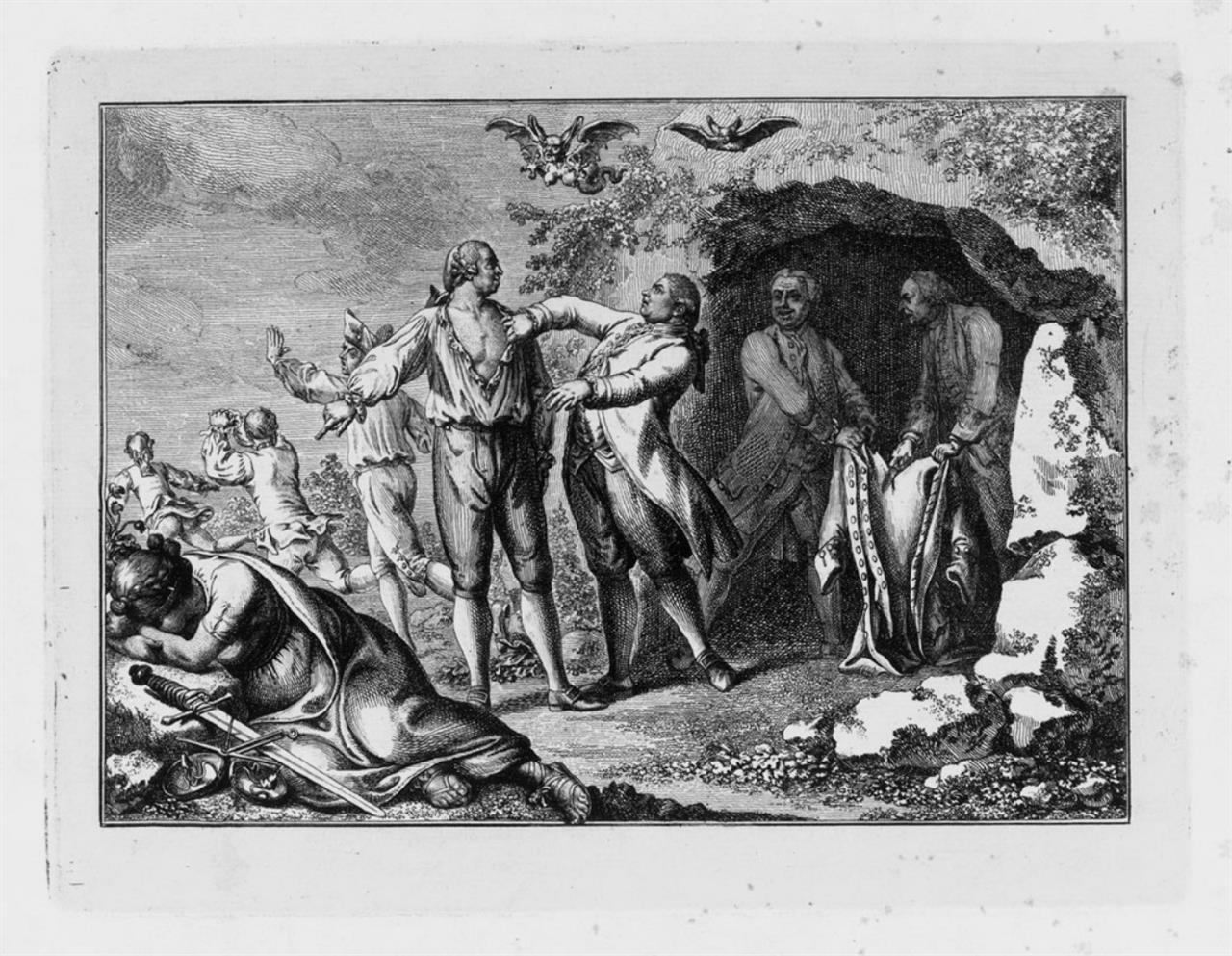 D. N. Chodowiecki. Die Werke der Finsternis. 1781. Radierung.