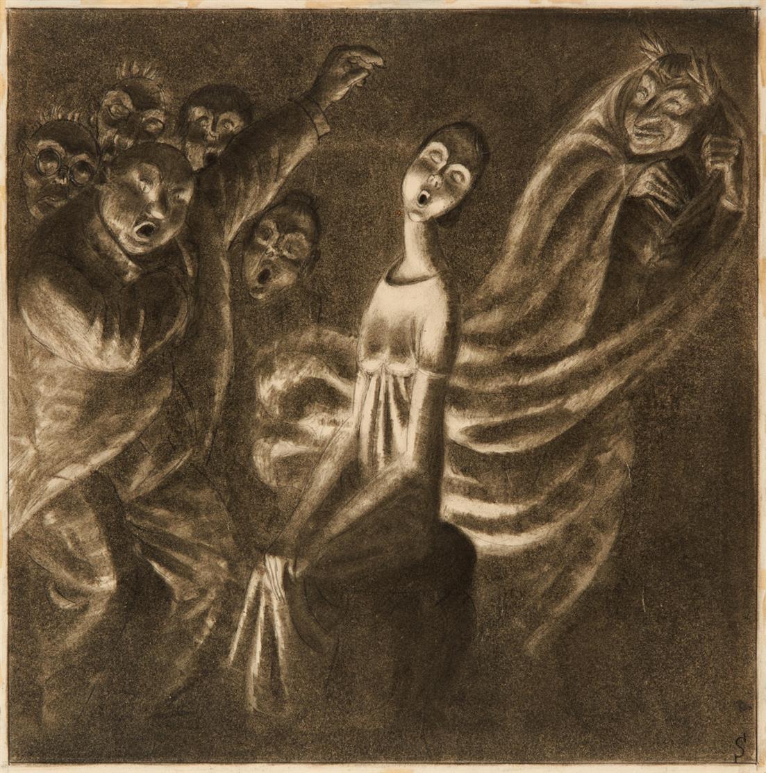 Erich Schilling. Spiritistischer Zwischenfall. 1925. Bleistift und Tuische. Monogrammiert.