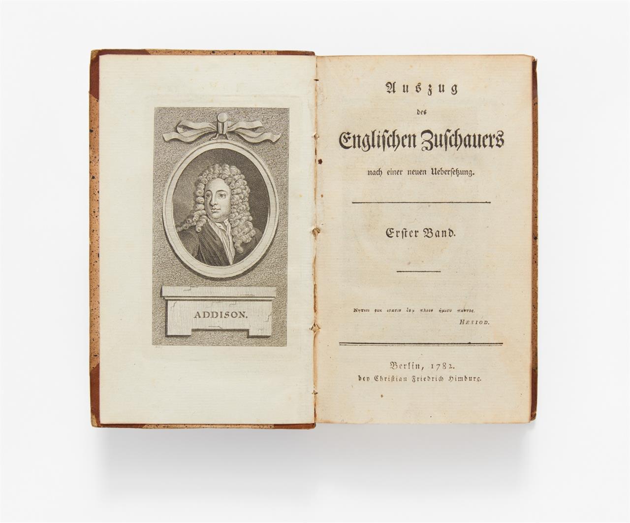 Addison, J. und R. Steele, Auszug des Englischen Zuschauers. 8 Bände. 1782-83.