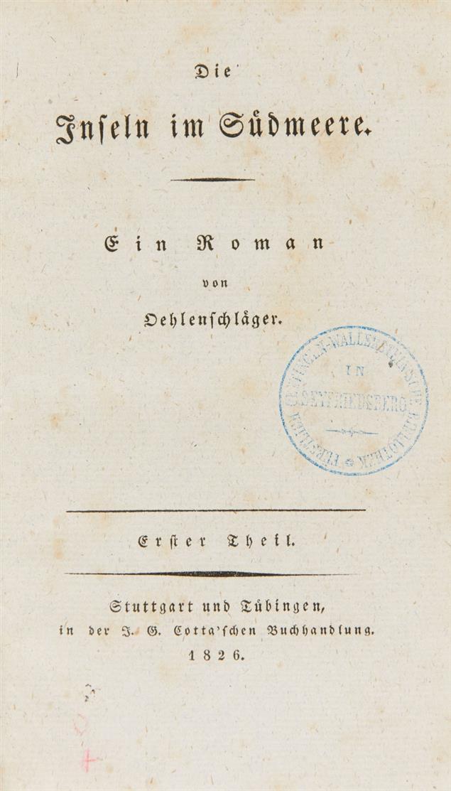 A. Oehlenschläger, Die Inseln im Südmeere. 4 Bände. 1826.