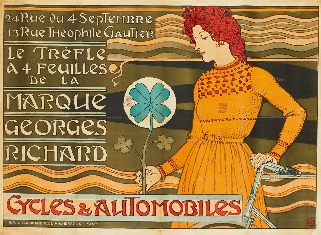 E. S. Grasset. Cycles & Automoblies. (1890). Plakat. Farblithographie.