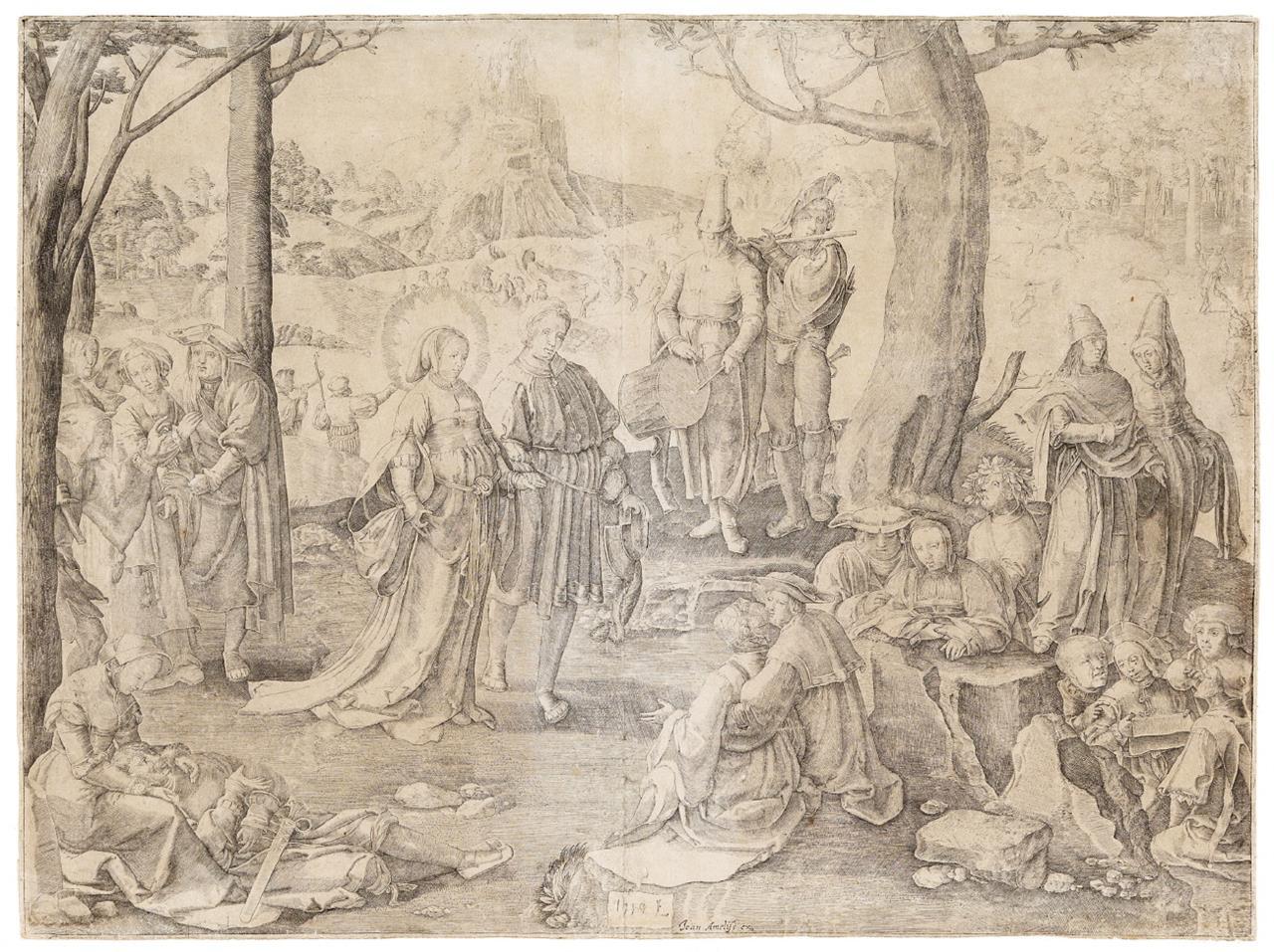Lucas van Leyden (nach). Der Tanz der Maria Magdalena. 1519. Kupferstich.